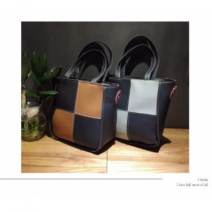 4 In 1 Set T01 PU Leather Square Designs Tote Bags