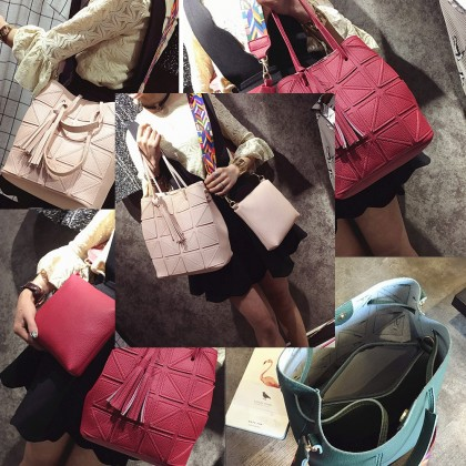 2 In 1 Set T02 PU Leather Square Designs Tote Bags