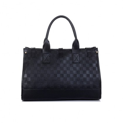 087 Knitted PU Leather Handbag (Black) (SKN0868)