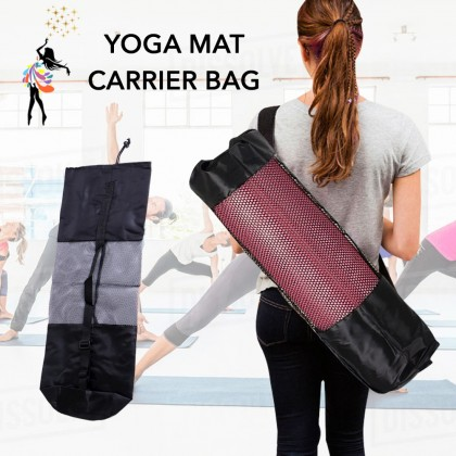 (TBN) Yoga Mat Bag Mesh Carrier Bag with Straps