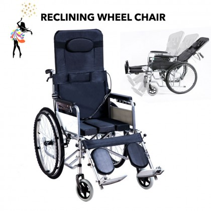 (TBN) Foldable Wheel Chair Full Reclining Kerusi Roda 4 Brakes With Urine Tray