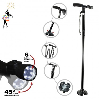 (TBN) Tongkat Walking Stick Foldable Adjustable Height Easy Folding Trusty Cane with LED Torchlight