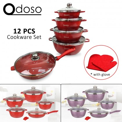 12 PCS Dessini Cookware Set Italy Non Stick Granite Cooking Pot Frying Pan Set Kitchen Cookware