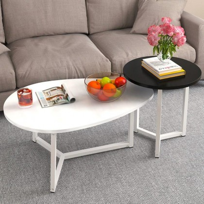 (BUNDLE SET OF 2) Japanese Style Tea Table Set Coffee Table Set Wooden Surface with Steel Structure Meja Ruang Tamu