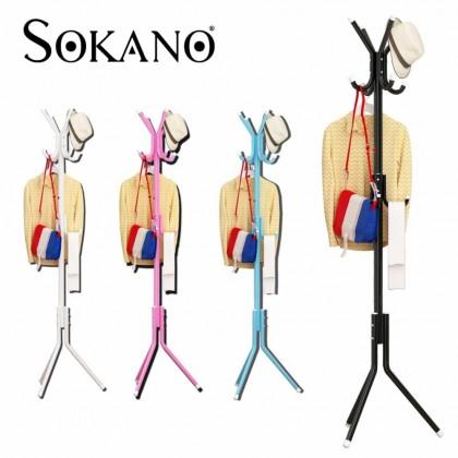 12 Hooks Hanging Pole for Hat Clothes Jacket Umbrella and Handbag- White