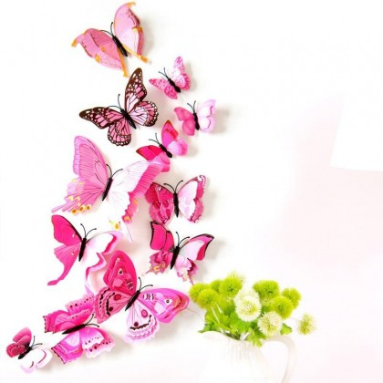12PCS 3D PVC Magnet Butterfly DIY Wall Sticker Home Deco (Come with Sticker As Well)
