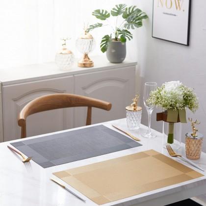 (BUNDLE SET OF 4) KD02 Europe Style Premium 45X30cm Table Placemats PVC Waterproof Dining Kitchen
