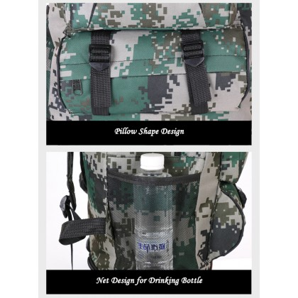 104 65L Large Outdoor Travel Backpack Camping Sports Bags Waterproof Oxford Cloth Backpack Camouflage Tactical Multifunctional Backpack