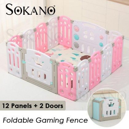 12 Panels+ 2 Doors Foldable Gaming Fence Baby Play Yard Playpen Baby Kid Safety Play Fence
