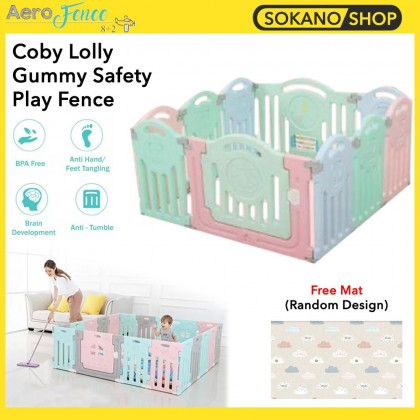 (Bundle) Coby Lolly Gummy Fence 8+2 Panels + [PARKLON] Pure PVC Soft Mat (Random Design)