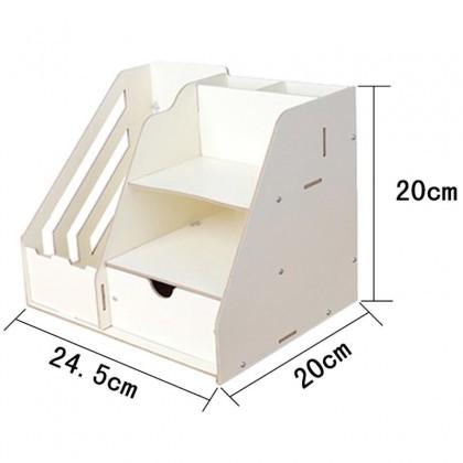 1034C Premium DIY Wooden Storage Organizer Book Shelf Rack Table Desk Organizer