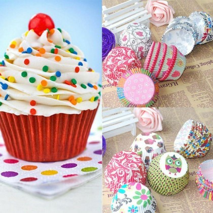 100 PCS Cupcake Liner Baking Cup Cupcake Paper Muffin Cases Cake Box Cup Egg Tarts Tray Cake Mould Decorating Tools