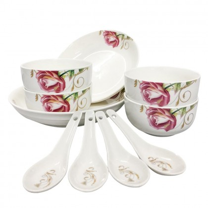 10 Pcs Set Porcelain Dishes Set Bowl and Plate set Rice Bowl Soup Bowl Rice Plate Spoon With Floral Design House Warming Gift Hadiah Rumah Premium Gift Set (Come in a Gift Box)