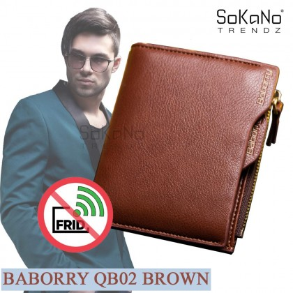 Baborry QB02 Men Short Bifold Wallet with the Zipper Men Wallet Top RFID Antimagnetic Anti RFID Anti Theft Beg Lelaki (with Detachable Name Card Holder)
