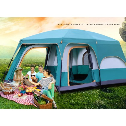SOKANO KH003 Double Layers Tent 8-12 Person (Available in Big/Medium/Small) Large Camping Tent Waterproof Family Tents for Outdoor Double Layers Event Luxury Khemah Besar Camping