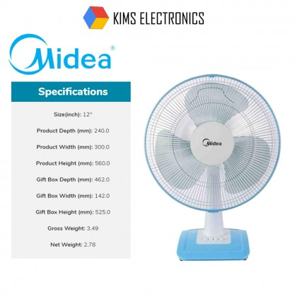 SOKANO Midea 12 Inch Table Fan Kipas Meja (MF-12FT17NB)