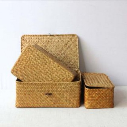 SOKANO SO016 Rattan Storage Box (Available in 3 Size) Hand Woven Rattan Home Storage Basket / Decorative Box with Lid 3 Sizes