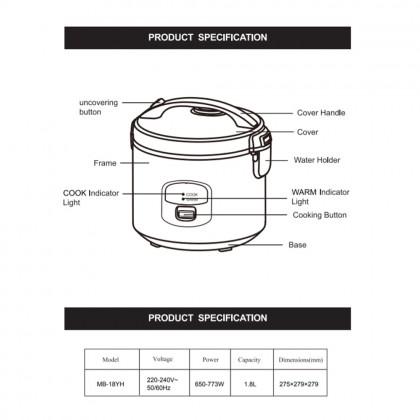 SOKANO Midea 1.8L Jar Rice Cooker Periuk Nasi (MB-18YH)