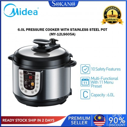 SOKANO Midea 6.0L Stainless Steel Pot Pressure Cooker (MY-12LS605A)