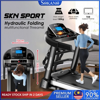 SKN SPORT K900 4.5HP Multifunctional Treadmill Hydraulic Folding Threamill Widen Pathway Antishock and Silent Adjustable Slope Sustain Weight Up to 150kg Fitness Gym Training fulfilled by Sokano Shop