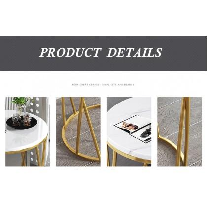 SOKANO E5184-B Marble Strap Table Nordic Style Scandinavian Style Coffee Table Premier Quality Golden Leg Living Hall Furniture Perabot Meja Kopi Meja Tepi Sofa