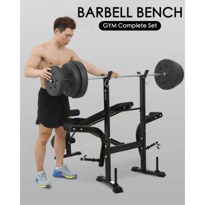 SKN Sports GB004 Barbell Bench Gym Complete Set (Sustain Up to 300KG) Chest Prest Flat Barbell Bench Weight Lifting Bench Fitness Equipment Sports (Barbell Bench Only)