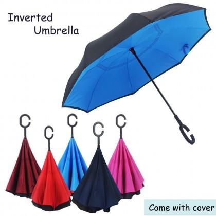 Inverted Reverse Double Layer Umbrella C Handle Hook 190T